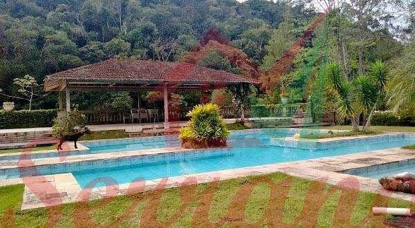 Vista da piscina para área de descanso